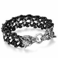 Heren Rvs Zwart Lederen Gevlochten Armband Link Zilveren Wolf Gothic Biker Sieraden 9.2 inch pulseira masculina couro