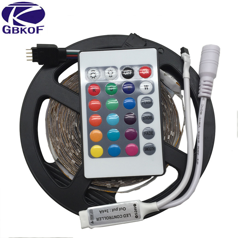 GBKOF 5M 3528 LED strip light RGB tape diode ribbon 300leds non waterproof with 24 Keys RGB remote controller