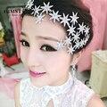 2017 Más Reciente Estrella Romántica Crystal Rhinestone Tiara Nupcial Accesorios Para el Cabello Para Casar de Quinceañera Pageant Partido