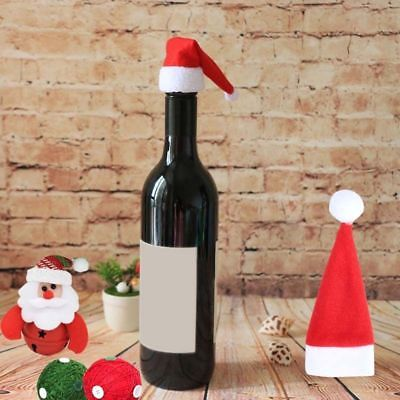 Santa Hat Wine Bottle Toppers Christmas Gifts Xmas Dinner Party Table Decor