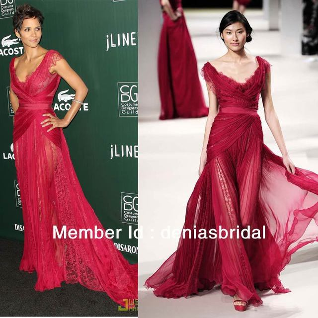 ES01 Halle Berry Lace Poly Chiffon Red Carpet Maxi Gowns Elie Saab ...