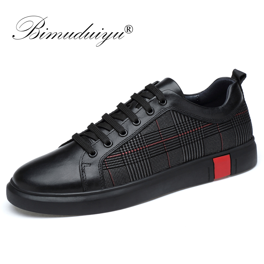 BIMUDUIYU New Men Casual Shoes Genuine Leather Very Comfortable Flats Leather Shoes Non slip Breathable Fashion