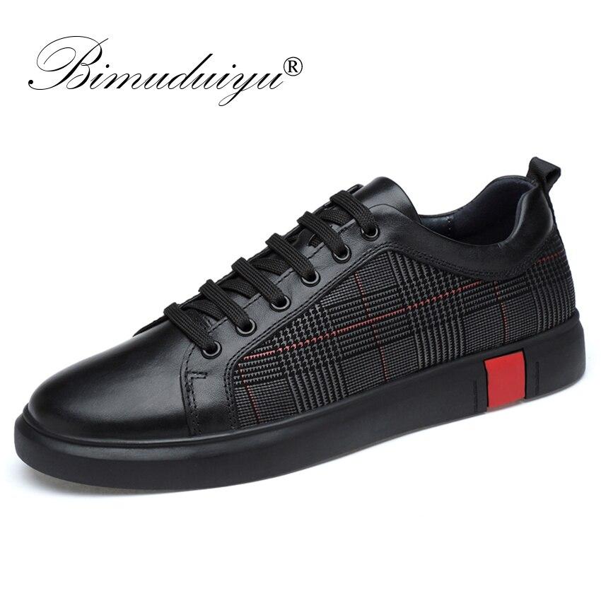BIMUDUIYU Nouveau Hommes Casual Chaussures En Cuir Véritable Très Confortable Appartements Chaussures En Cuir Non-slip Respirant Mode Sneakers Taille 46