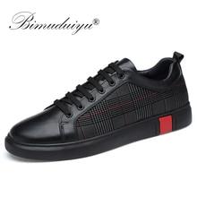 BIMUDUIYU جديد الرجال حذاء كاجوال جلد طبيعي مريحة جدا الشقق أحذية من الجلد عدم الانزلاق تنفس موضة أحذية رياضية حجم 46