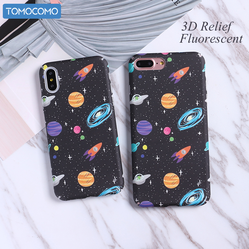 Sweet-Tempered Tomocomo Cartoon Airship Astronaut Stars Moon Case For Iphone 8 8plus Case Over Hard Pc Phone Cases For Iphone7 7 Plus X Capa Crazy Price Phone Bags & Cases Half-wrapped Case
