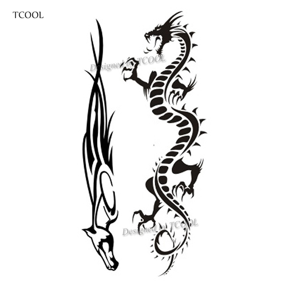 HXMAN Dragon Women Temporary Tattoo Sticker Tattoos For Waterproof Men Fashion Body Art Kids Hand Fake Tatoo 10.5X6cm A-230