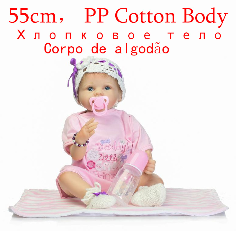 New 22 inchs silicone vinyl real soft touch reborn baby Gift Safe Lifelike Simulation Baby Dolls Newborns For Kid Brinquedoses new fashion design reborn toddler doll rooted hair soft silicone vinyl real gentle touch 28inches fashion gift for birthday