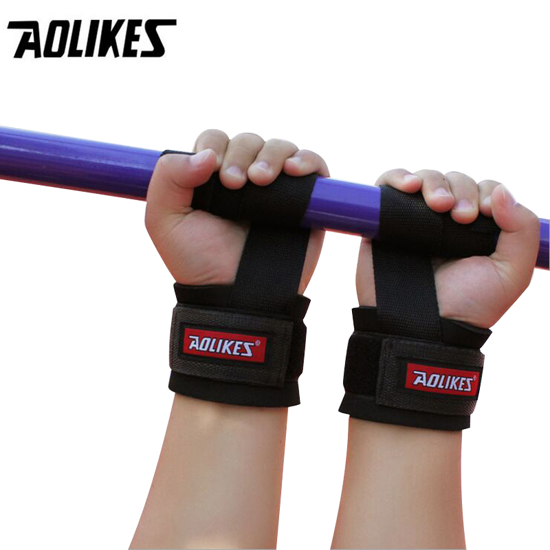 AOLIKES 2pcs Wristband Gym Training Weight lifting Hand Bar Wrist Support Grip Barbell Straps Wraps Hand Bodybuilding,Crossfit все цены