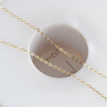 Gold filled thin flat O type shape high grade brass tassel necklace Chains not fade for making jewelry accessories 1.3mm 1meter(China)