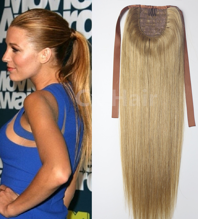 #18 lightest blonde 16-3260g 80g 100g 120g140g remy human hair extensions horstail ponytail clips in/on extensions