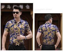 Casual 80% Silk Shirt Men Short Sleeve Both Sides Print Chinese Dragon Nation Flower Beach Summer Clothes