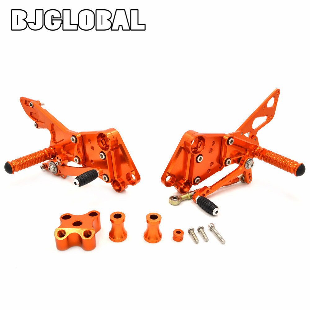 BJGLOBAL CNC Billet Racing Adjustable Rearset Foot Pegs Rear Set Foorrest Pedal For KTM Duke 390 2013-2017 Duke 125 200 All year kemimoto for ktm duke rc 390 125 200 2011 2012 2013 2014 foot rest adjustable rearsets rear set pedal for ktm 125 200 390