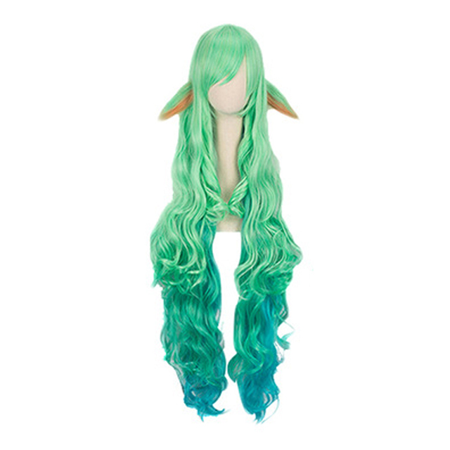 100cm Wig LOL Soraka Star Guardian Game Cosplay Women Wig Carnival Masquerade Girls Green Long Hairs League of Legends