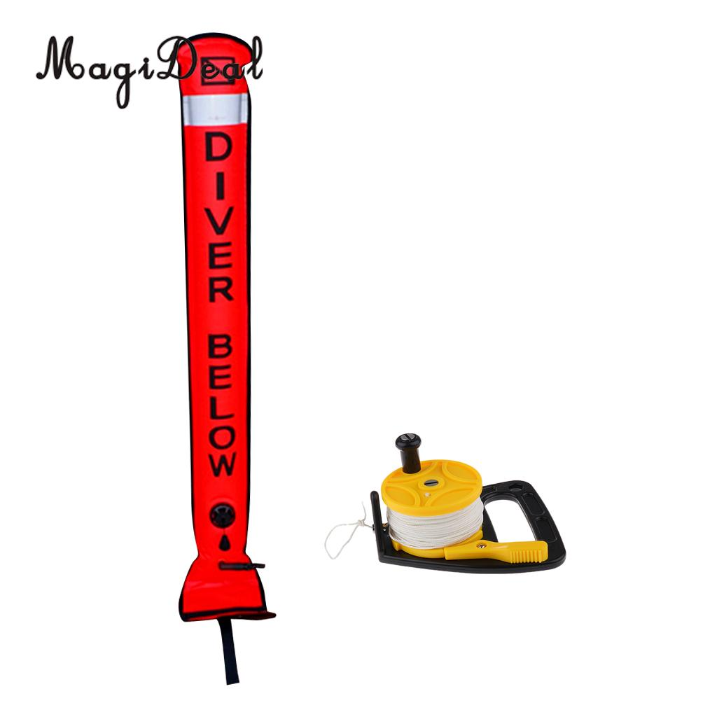 MagiDeal Professional Scuba Diving Diver Reflective Safety Sausage SMB Surface Marker Buoy with Dive Reel Kayak