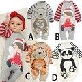 Детские Панда Животных Ползунки, с длинными рукавами младенческой комбинезон одежда, новорожденных девочек одежда Комбинезоны осень хлопка мальчиков одежда