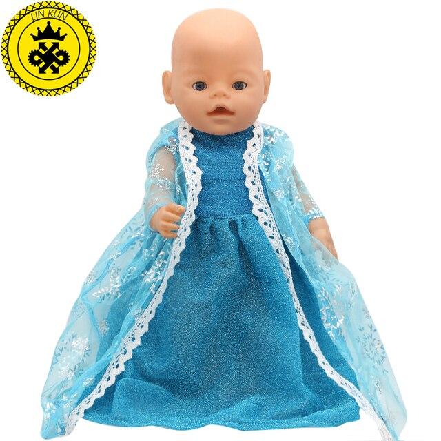 Bebê Roupas de Boneca Elsa Princesa Laço Azul Vestido Longo Fit 43 centímetros Boneca Acessórios 031