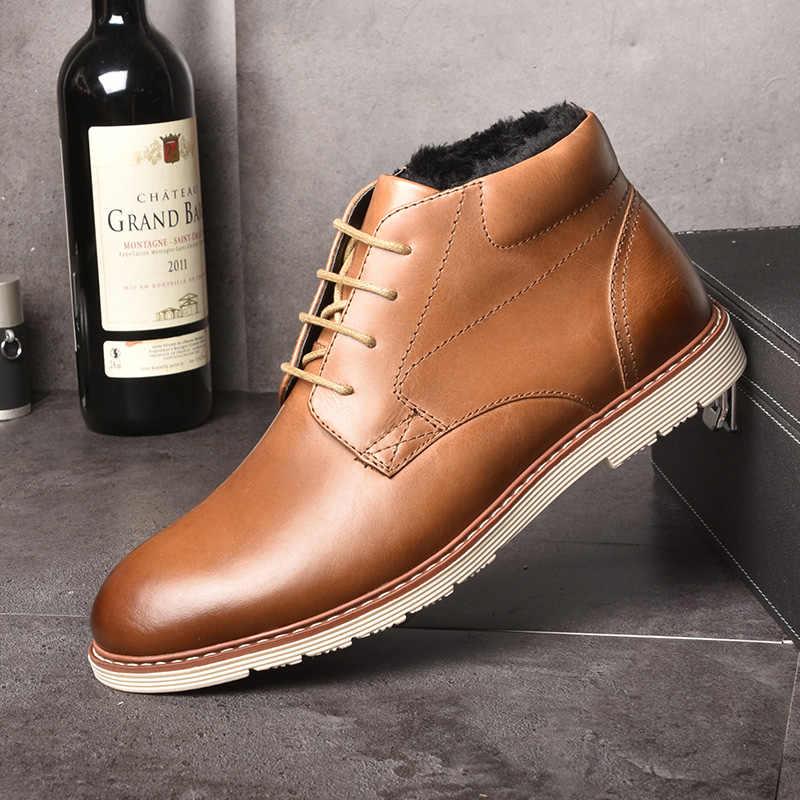 OSCO botas de cuero genuino para hombre Otoño Invierno botas de tobillo calzado de moda Zapatos Hombre Zapatos de cordones para de negocios casuales de alta calidad para hombres