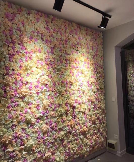 8ft X Champagne Wedding Flower Wall Rose Hydrangeas Backdrop Stage Decoration