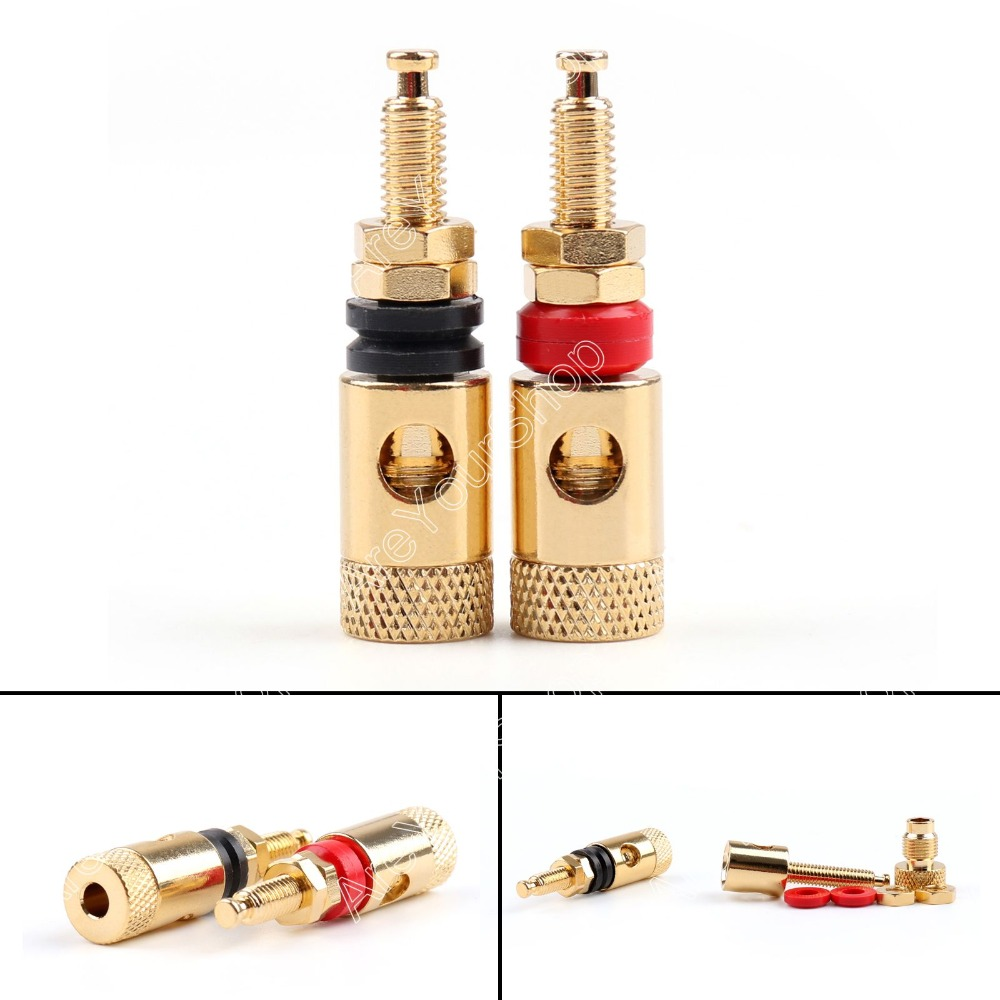 Areyourshop Sale 4 Pcs Copper Gold Plated For Audio Speaker Binding Post For 4mm Banana Plug Test Probe Conversion minijack plug 30 pcs copper gold plated audio speaker binding post banana jack connectors high quality minijack plug wire connector