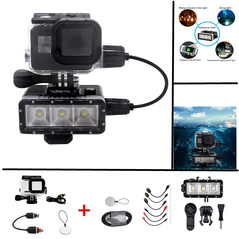 Suptig For Gopro Accessories Set Multi functional Led Flash Lamp Waterproof Housing Shell For Gopro Hero