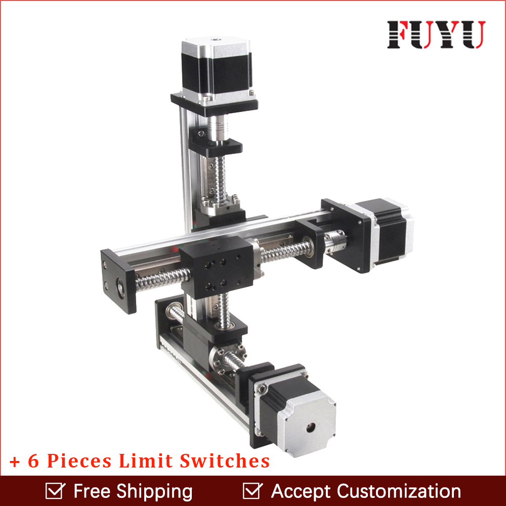 Free shipping linear rail guide ball screw with motor driven Y axis 300mm diy x y z axis router for cutting machine free shipping factory sale ball screw linear guide rail xyz motorized stage table robotic arm z axis 300mm with motor
