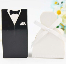 100 Pcs Wedding Candy Box Bridal Gift Cases Groom Tuxedo Dress Gown Ribbon Wedding Favor Candy Box