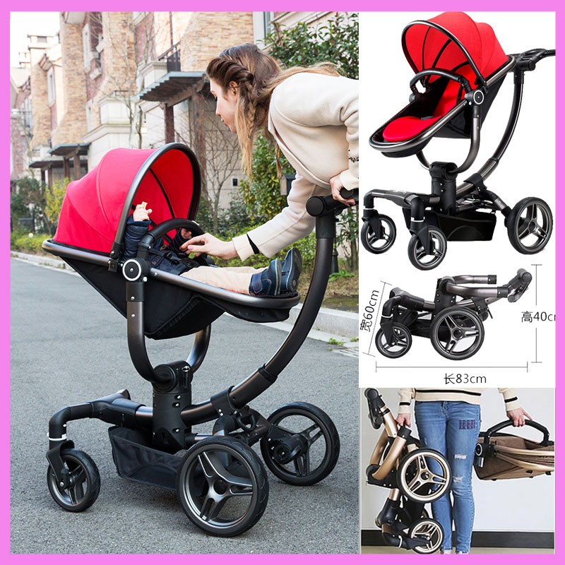 V-baby Luxury High View Mutifunctional Travel System Baby Stroller Pram Buggies Portable Folding Four Wheels Newborn Pushchair tanger so239 mini uhf female jack to sma male plug right angle with 20cm 8 rg316 rf coaxial pigtail low loss cable high quality
