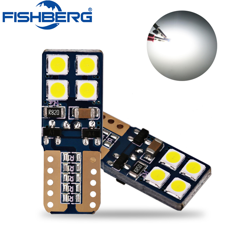 FISHBERG 4pcs Canbus T10 8smd 3030 LED Car Light Canbus W5W T10 Led Canbus 194 168 SMD Error Free White Light Bulb wholesale 10pcs lot canbus t10 5smd 5050 led canbus light w5w led canbus 194 t10 5led smd error free white light car styling