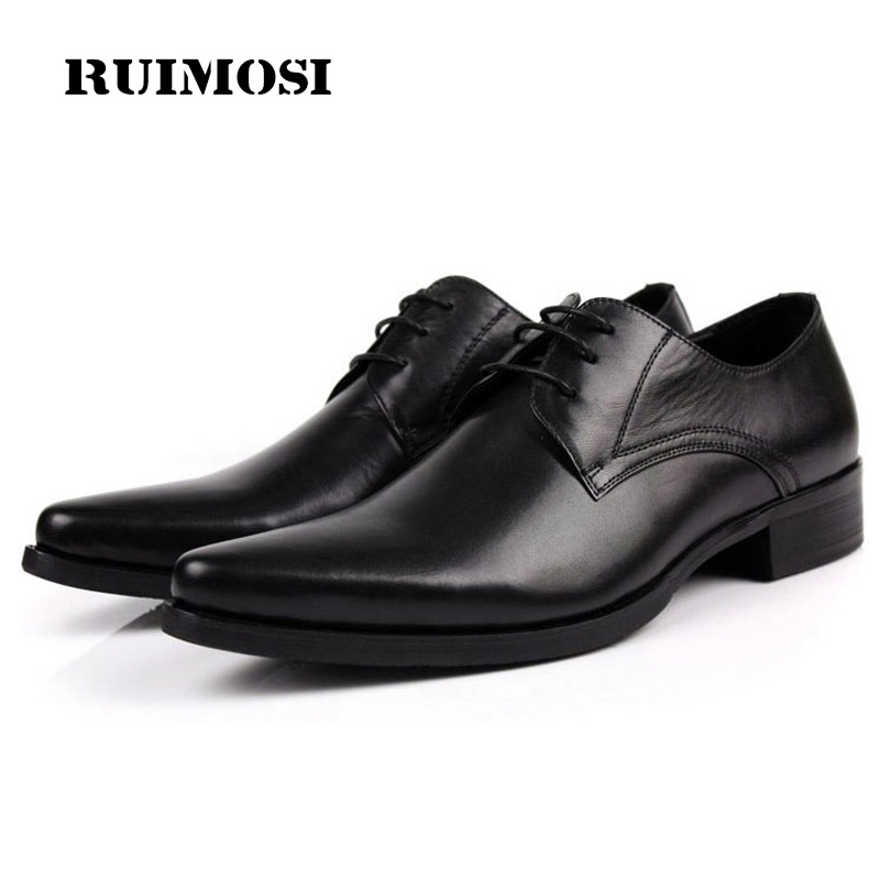 RUIMOSI N Italian Pointed Toe Man Formal Dress Shoes Luxury Brand Genuine Leather Male Oxfords Men's Wedding Bridal Flats JD94