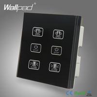 Double Curtain Switch 110V 250V Wallpad Black Touch Glass Panel 6 Buttons Control 2 Curtain Window