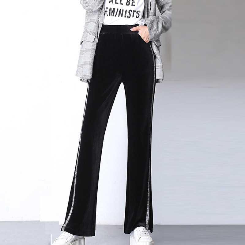 Side Stripe Elegant Office Lady Winter   Pants   Women Velvet   Pants   High Waist Minimalist   Wide     Leg     Pants   New Year Casual Trousers