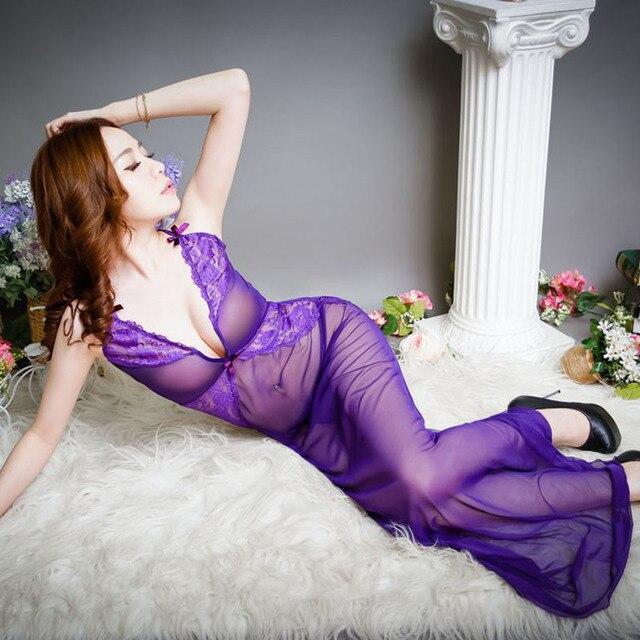 9c864e7aae8b Purple See Through Sexy Women Night Dress Slip Sleeping Dress Lingerie  Spaghetti Strap Nightwear Sleeveless Nightgowns Sleepwear