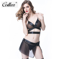 COLLEER Sexy Transparent Bra Set With Garter Belt Harness Lingerie Bra And Brief Suspender Belt Hot