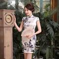 Hot Sale Chinese Women Real Silk Cheongsam Sexy Short Mini Qipao Vintage Print Mandarin Collar Dress Size S M L XL XXL Z0036