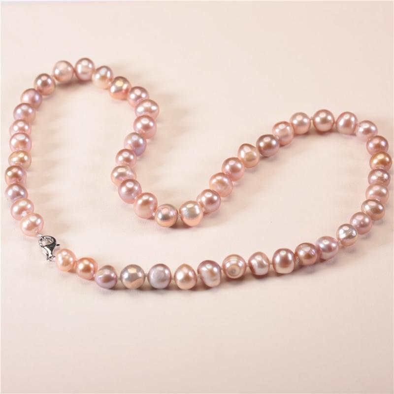Ny 7-8mm ægte ferskvandsperle halskæde naturlige dyrket perlekæde - Smykker - Foto 6