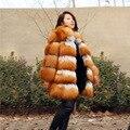Красота Женщины Природный Супер Высокое Качество Red Fox Silver Fox Меховой пальто с real fox воротник куртки зима теплая полный пелт реального жилет