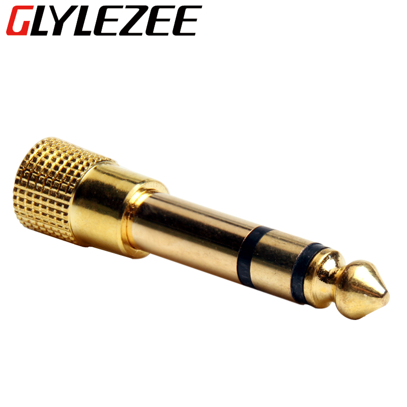 6.5mm Male to 3.5mm Female Stereo Mic Plug Audio Adapter Gold Plated Jack Converter for Headphone Microphone Speaker