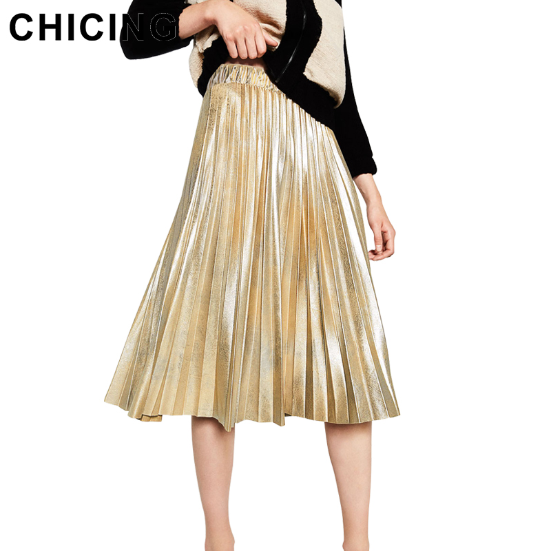 Chicing 2016 New Women Midi Skirt Fashion Bling Bling Sequined Glitter Metallic Party Style