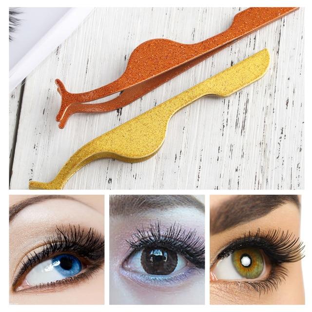 5e3568103cc 1PC Stainless Steel False Eyelash Applicator Clip Rose Gold Fake Eye Lash  Extension Makeup Kits Nipper Tweezer Women Cosmetic