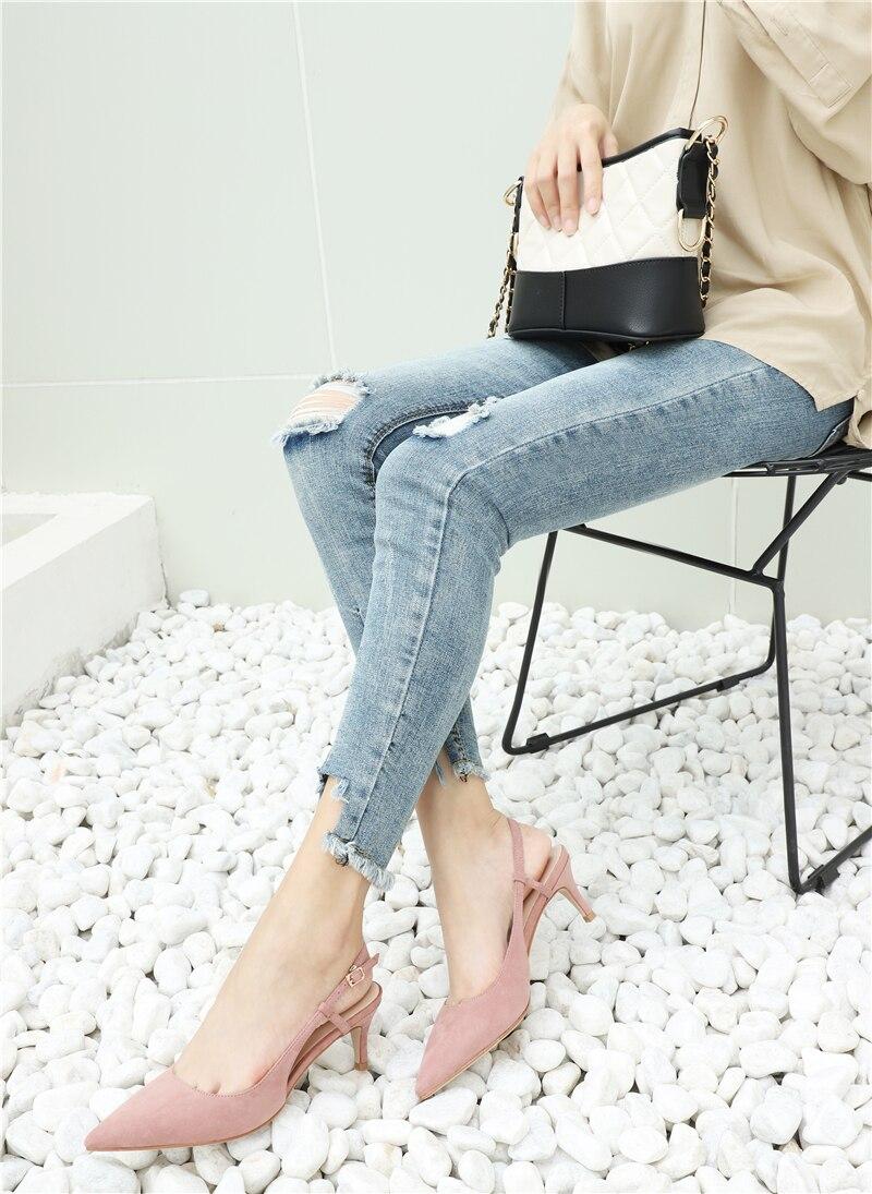 Woman's Spring 6cm Thin High Heels Slingbacks 21