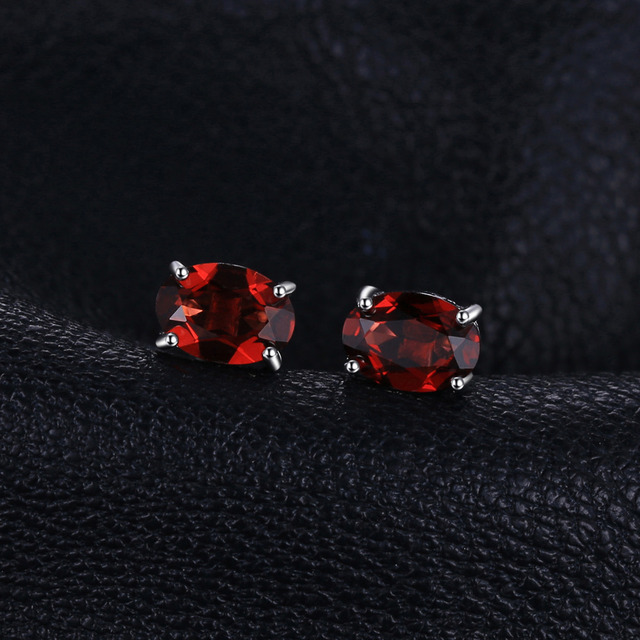 Oval Natural Garnet Stud Earrings