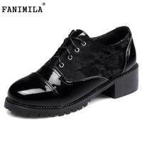 FANIMILA בריטי מעוור נשים משאבות עקב כיכר שרוכים נעליים חצאיות נעלי Sapatilhas Zapatos Mujer נעלי נשות גודל 32-48