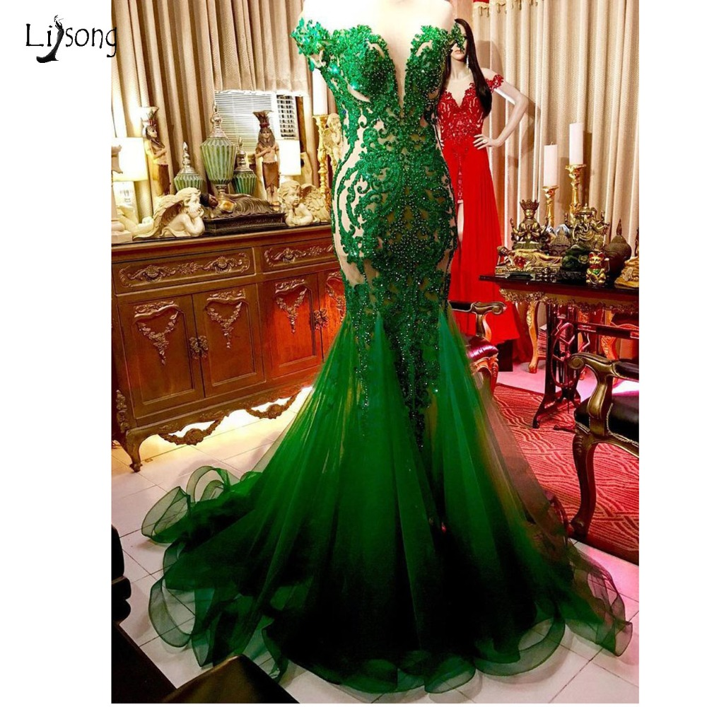 Emerald Green Beaded Long Mermaid   Prom     Dresses   2019 Saudi Arabic Lace   Prom   Gowns Sexy Sheer Back Formal   Dress   Vestidos Longo