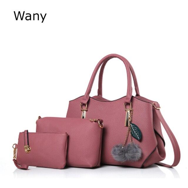 1ff19de107 Women s Handbags 3 pcs set Purse Tote Bag Bag Ladies Shoulder Bags PU Women  Leather bag Top-Handle Handbag