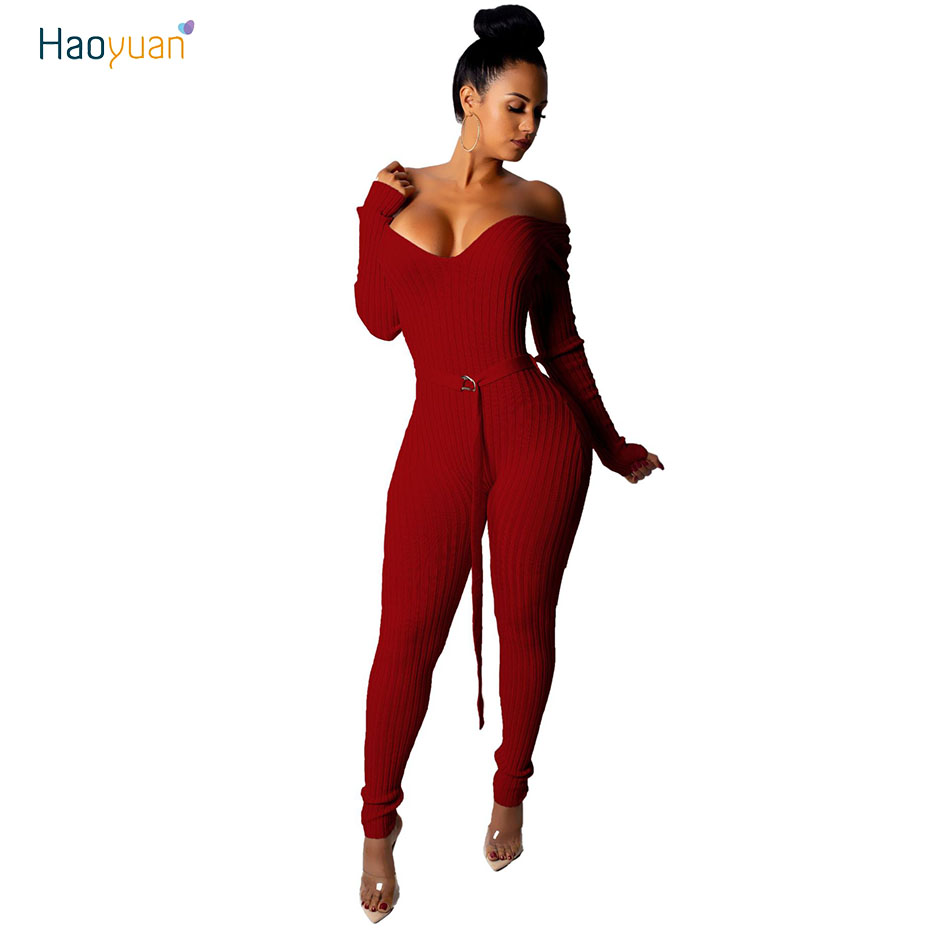 HAOYUAN Knitted Rompers Women   Jumpsuit   Autumn Elegant Deep-V Long Sleeves Sashes Playsuit Tracksuit Long Knit Bodycon   Jumpsuits