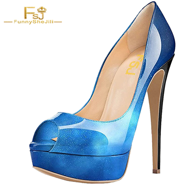 e5d5af68c2 Summer-Elegant-Office-Ladies-Shining-Blue -Platform-Patent-Leather-Pumps-With-Sexy-Peep-Toe-Thin-High.jpg_640x640.jpg