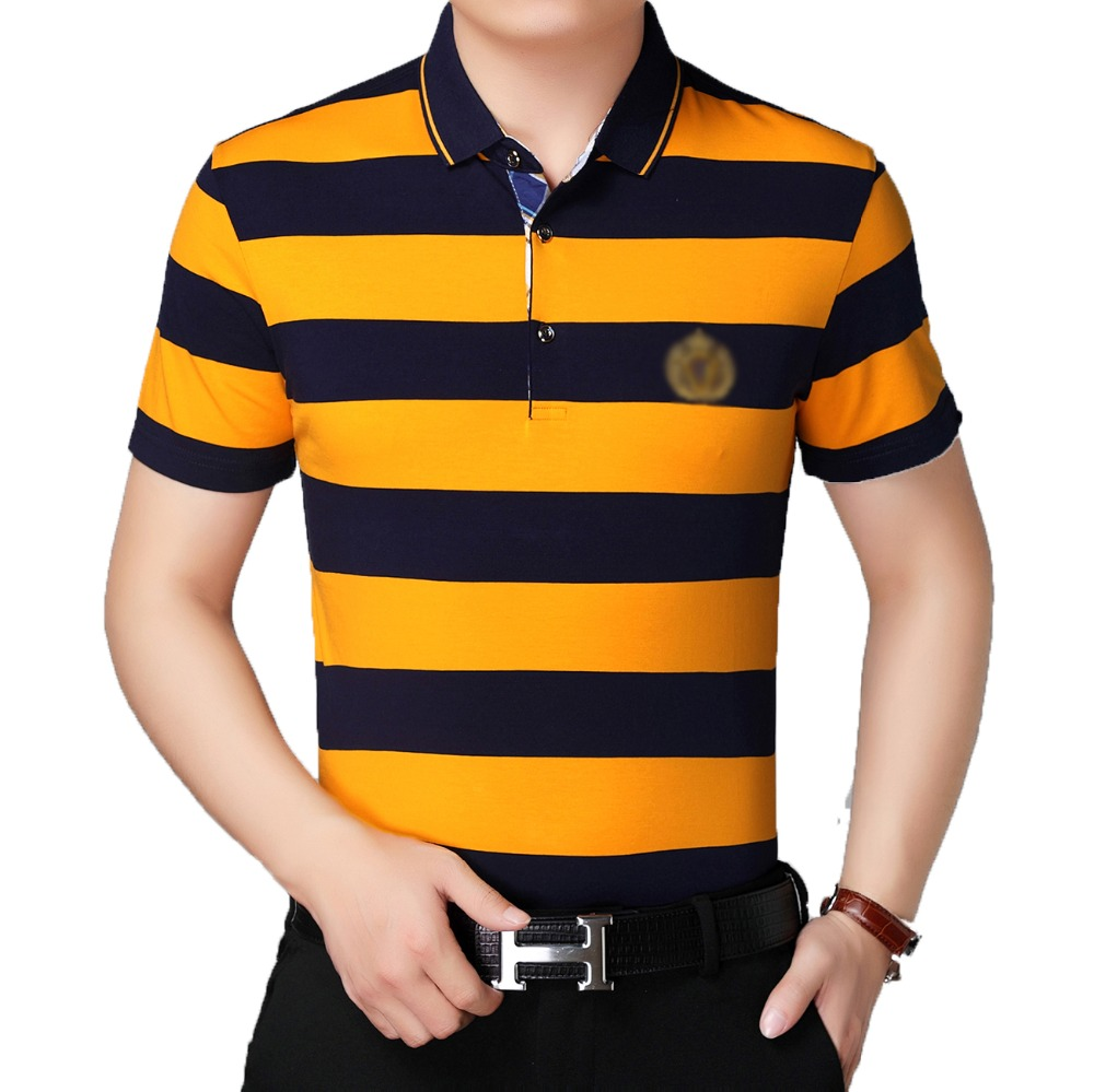 Summer Men Shirts Yellow Red Black Cross Stripes Tops Man Smart Causal Blouses Turn Down Collar Quarter Button Colalr Shirt Male