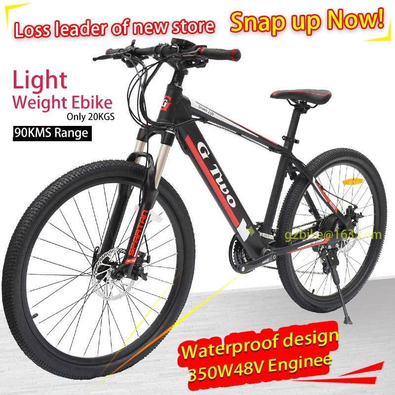 G Two 2018 new 26inch 27Speed Electric Bike Powerful Electric Mountain Bike Lithium Battery 250W 350W 48V eBike Electric MTB