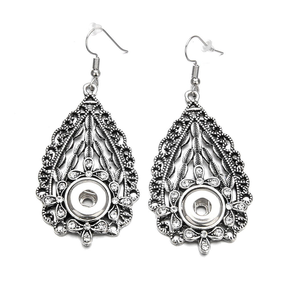 Vintage Silver 12mm Snap Button Earrings DIY Metal Snap Button Crystal Geometric Leaves Charms Hanging Earrings Women Jewelry image
