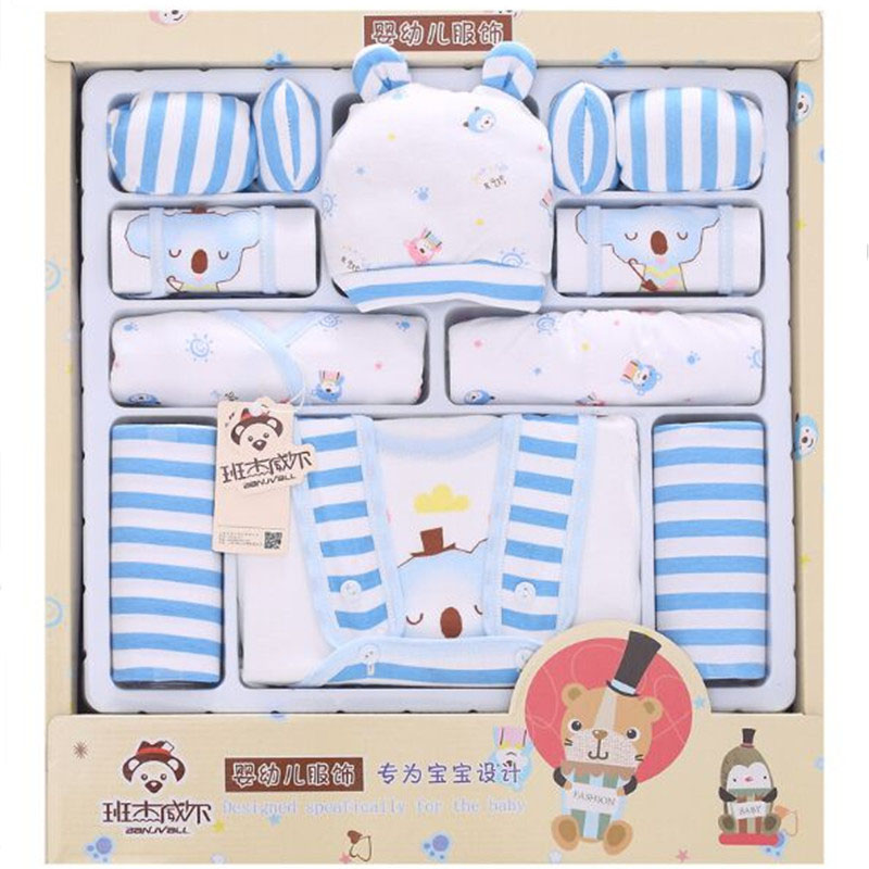 100% Cotton 15 Piece Fashion Baby Newborn Gift Set Baby Girls Clothing Sets Spring Summer Full Baby Suit